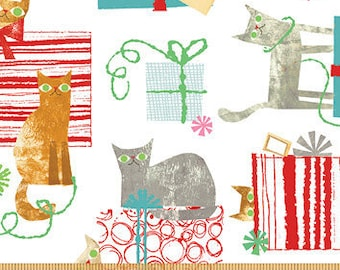 Make Merry Christmas Cat - Cats & Presents - Maria Carluccio for Windham  51152-3 White - Priced by the Half Yard