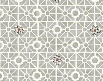 Garden Fabric, Geometric Fabric - Salon Fleur by Studio Frivolite for Studio e -  3638 09 Gray - Priced by the 1/2 yard