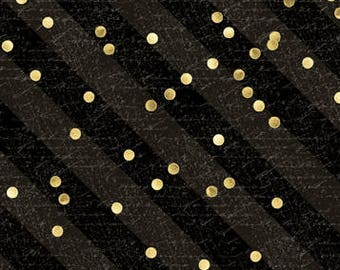 Paris Fabric, Tres Graphique, Dot & Stripe, Script Writing -  Wilmington - 82530 995 Black - Priced by the Half Yard