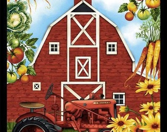 Farmers Market - Barn Panel - Red Barn - Barn Tractor - by Geoff Allen for Studio e - 4450 Banner Panel - Priced by the 24-Inch Panel