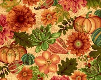Gourd Fabric - Pumpkin - Fall Floral  Fall Fabric - Fall Festival by jennifer Brinley - Studio E - 4266 44 Cream - Priced by the half yard