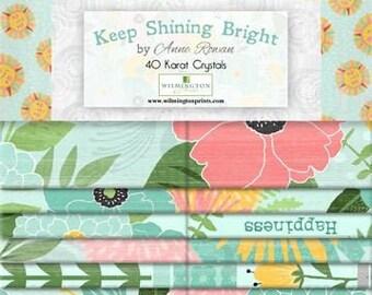 Keep Shining Bright - Sunny Flowers - By Anne Rowan for Wilmington Prints 40 Karat Jewel 840 593 840 - 2.5 Inch WOF Strips 40 piece per pack
