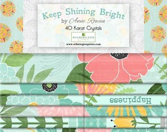 Keep Shining Bright - Dahlia Hummingbird - Anne Rowan Wilmington Prints - Fabric Bundle Strips - 2.5 inch 840-593 40-karat crystal strips