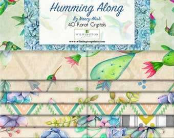 Humming Bird Fabric - Cactus Fabric - Humming Along by Nancy Mink - Wilmington Prints - 2.5 Inch WOF Strip Pack - 40 piece per pack