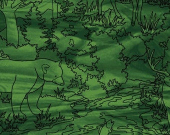 Outline Print Linework - Forest Scene - Mosaic Forest by Studio e Fabrics - 4196 66 Green - Priced by the half yard
