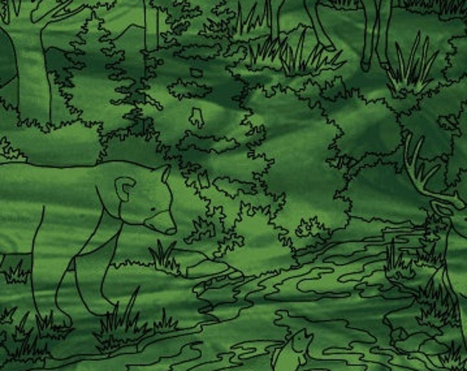 Featured listing image: Outline Print Linework - Forest Scene - Mosaic Forest by Studio e Fabrics - 4196 66 Green - Priced by the half yard