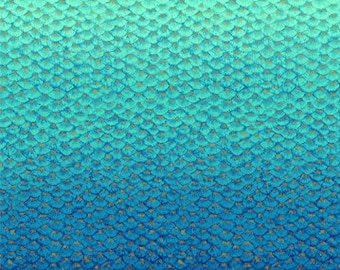 Shimmer Fabric - Fish scale - Ombre Blender - Mermaid Tail - Artisan Spirit Shimmer Northcott  22147M 45 Blue - Priced by the 1/2 yard