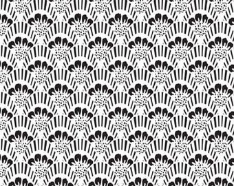 Black & White Fabric, Fan Scallop Fabric, Rosecliff Manor by Emily Taylor for Riley Blake Designs C3923 White - Priced by the Half Yard