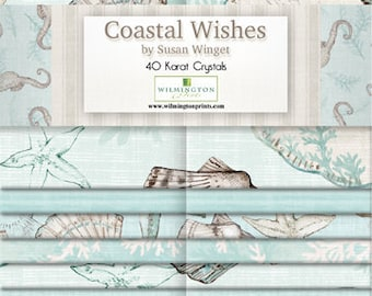 Coastal Wishes - Seahorse Nautical - By Susan Winget for Wilmington Prints - 840-618-840 - Strip Set - 40 Strips - 2.5 Inch