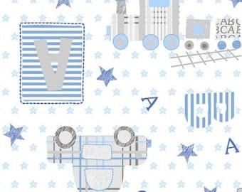 Comfy Flannel, Train Flannel, ABC Flannel - AE Nathan - 9916 White  - 32-Inch EOB