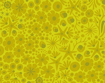 Alison Glass, Diving Board, Reef - for Andover Fabric 8637 G - Green yellow (Algae) - Priced by the Half Yard