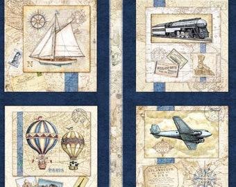 "Wanderlust - Travel panel - Vintage Travel - Dan Morris for Quilting Treasures - Panel 44""x24"" Horizontal 26719 Navy"