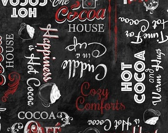 Time for Hot Cocoa Fabric by Conrad Knutsen for Wilmington - Cocoa Words - 30526 913 - Black - Priced by the Half Yard