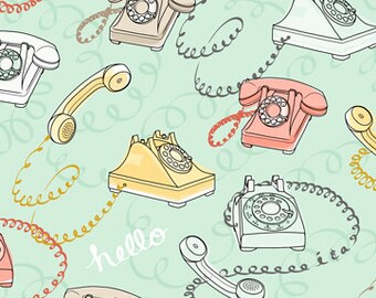 Phone Fabric, Rotary Phone Fabric, Vintage Phone - Talk to Me - Ink & Arrow - Quilting Treasures - 24341 Lt Seafoam - Priced by the 1/2 yard