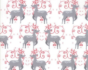 Christmas Fabric - Reindeer Oh Deer - Wenche Wolff Hatling - Nordic Christmas Sno 39721 11 White - Priced by the Half yard