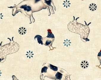 Farm Animal Fabric, Americana - Heartland By Jennifer Brinley - Studio e Fabrics -  3641 44 Cream - Priced by the Half Yard