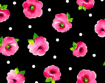 Brooke Fabric - Small Tossed Floral by Studio 8 for Quilting Treasures 26319 J Black & Pink - Priced by the 1/2 yard