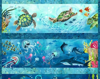 Sea Life Fabric - Sea Level Creatures - Ocean State by Pam Vale for Studio E - 4503P Blue  - Priced by the 24-Inch Panel