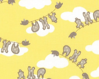 Storybook Clothes Fabric  - Kate  Birdie Childrens Story Book Clothesline Banana Yellow 13113 17 - end of bolt 30 Inch