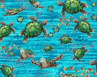 Turtle Fabric - Ocean State by Pam Vale for Studio E - 4511 11 Blue Green - Priced by the Half yard