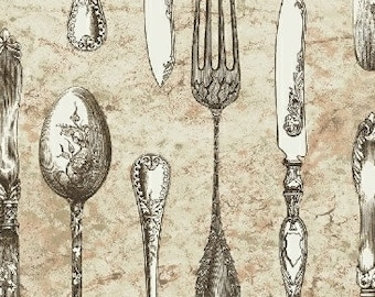 Afternoon Tea Fabric, Cutlery, Silverware - Afternoon Tea by Whistler Studio for Windham Fabrics  - 42826 - Priced by the Half Yard