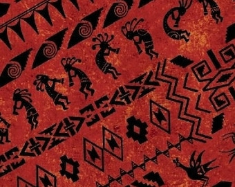 Kokopelli Fabric - Southwest Fabric - Border Stipe - Adobe Whistler Studios for Windham  50532 4 Deep Red - Priced by the 1/2 yard