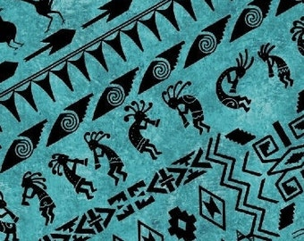 Kokopelli Fabric - Southwest Fabric - Border Stipe - Adobe Whistler Studios for Windham  50532 3 Blue - Priced by the 1/2 yard