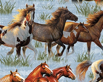 Mustang Fabric - Bronco - Horse Fabric - Round Em Up - Dan Morris for Quilting Treasures - 26604 B Blue - Priced by the 1/2 yd