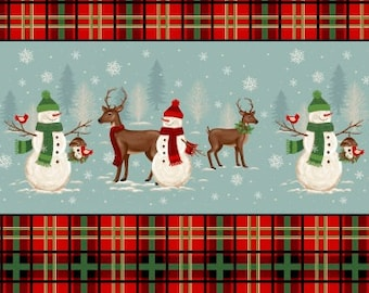 Snowman Stripe Fabric, Christmas, Reindeer - A Christmas to Remember by Gina Linn for Blank Quilting - 8158 11 - Priced by 1/2 Yard