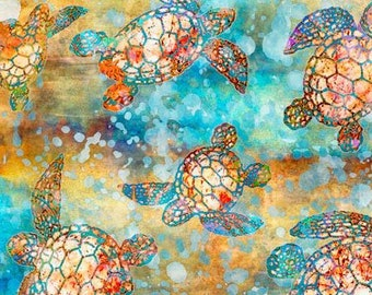 Turtle Fabric - Sea Turtle Fabric - Oceana by Dan Morris for Quilting Treasures - 27089 X Ocean Multi Color  - Priced by the Half Yard