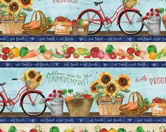 Sunflower Bike fabric - Border Stripe - Country Road Market by Nancy Mink for Wilmington - 33838 423 - Priced by the half yard