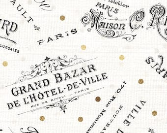 Paris Fabric, Tres Graphique, Word Toss, Grand Bazar, Hotel Signs - Wilmington - 82528 195 Ivory - Priced by the Half Yard