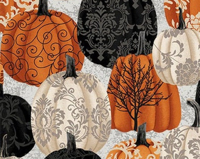 Featured listing image: Spooky Night - Damask Pumpkin - Grace Popp for Studio E - 5717-93 - Priced by the 1/2 yard