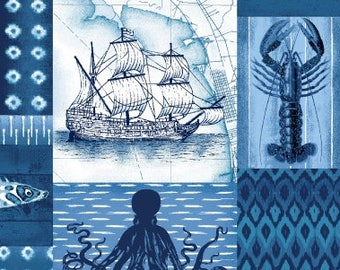 Nautical Motif, Patchwork Sea Life, Octopus, Sailing Vessel  - Indigo Coastal by Jennifer Parker - 3991 77 - Priced by the half yard