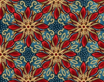 Poinsettia Fabric - Celestial Winter - In The Beginning - 5ACW 1M Blue with Metallic - Priced by the 1/2 yard