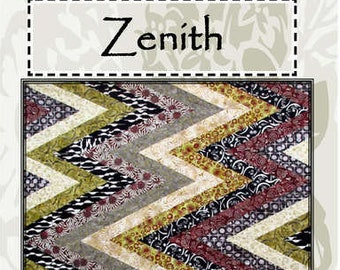 Zenith Quilt Kit, Zig Zag pattern, Chevron Pattern - by Stephanie Prescott - A Quilters Dream - Fabric Bundle with Ruler DIY P111