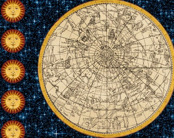Galileo Fabric, Constellation Map Fabric - Galileo by Whistler Studio for Windham 42559  - Priced by 24-Inch Repeat