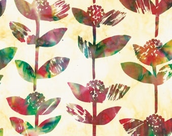 Hoffman Bali Batik - Block Flower Stem - Hoffman Fabrics - 2241 130 - Multi color - Priced by the Half Yard