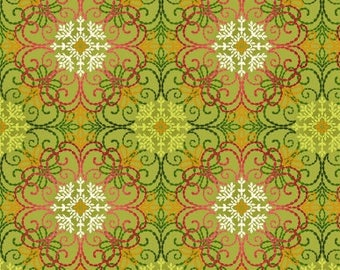 Christmas Filigree Fabric - Holiday Medallion - Holiday Decorating -  Holiday Flair by Art Loft, Studio E - 3785M 66 - Priced by the 1/2 yd