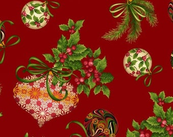 Christmas Ornament Fabric,  Holiday Decorating -  Holiday Flair by Art Loft, Studio E - 3782M 88 - Priced by the 1/2 yd