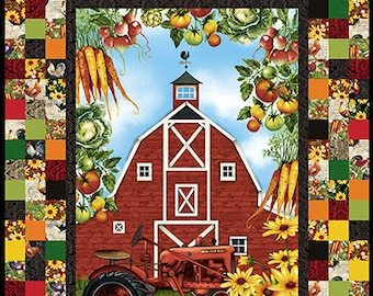 Farmers Market - Barn Panel Checkerboard - Quilt Kit - Features Farmers Market by Geoff Allen - Studio e - 4450 Banner Panel - DIY Project