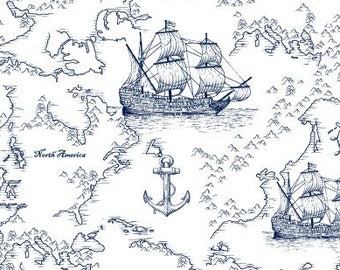 Sailing Ship, Seafarers Map, Ship Toile - studio e - Indigo Coastal by Jennifer Parker - 3992 70 - Priced by the half yard