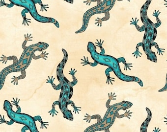 Native American Fabric, Lizard Fabric - Spirit of the The Buffalo Tana Mueller for Blank Quilting  8117 Turquoise - Priced by Half yard