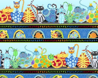 Cat Fabric - Border Stripe - Catmosphere by Stephanie Marrot for Wilmington Fabrics - 84436 495 - Priced by the half yard
