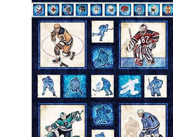 Hockey Fabric, Sport Fabric - Face Off by Dan Morris for Quilting Treasures 26343 N - Priced by the 24-Inch Panel