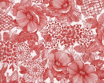 Floral Fabric, Etched Floral, Vintage Floral - Jolene, Blank Quilting  427 08 Red  - Priced by Half yard