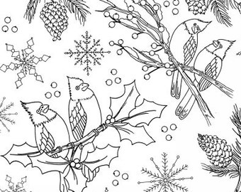 Let's Color Outline Fabric - Cardinal Christmas by Tara Mueller Denim & Dirt - 8259 - Priced by the Half Yard