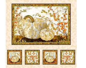 Pumpkin Fabric - Fall Foliage - Autumn Shimmer - Lynnea Washburn - Quilting Treasures - 26538 Cream - 24-Inch Panel