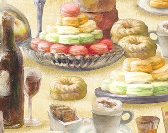 Le Cafe Dessert - Paris Cafe - Paris Treats - by Danhui Nai for  Wilmington Prints - 89167 252 Tan - Priced by the 1/2 yard