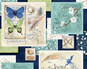 Bird Nest Fabric, Springtime, Butterfly - Nature Study by Nancy Mink for Wilmington Prints Fabric - 33820 417 - Priced by the 24-Inch Panel